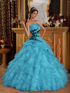 Aqua Blue Ruffled Organza Quinceanera Dresses with Appliques