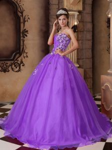 Purple Princess Sweetheart Organza Sweet Sixteen Dresses