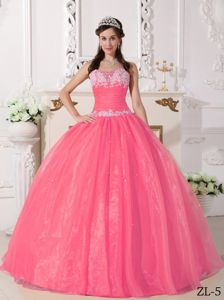 Watermelon Taffeta and Organza Appliques Quinceanera Dresses