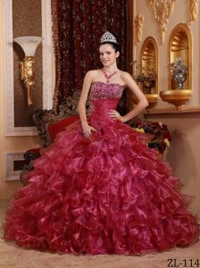 Red Organza Beaded Quinceanera Dresses with Layered Ruffles