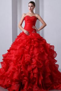 Red Organza Beaded Sweet Sixteen Dresses with Ruffles and Train