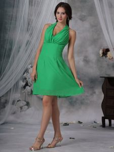 Halter Top Spring Green Knee-length Chiffon Dama Dress 2014