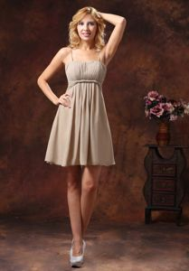 Brown Mini-length Dama Dress with Spaghetti Straps in Chiffon
