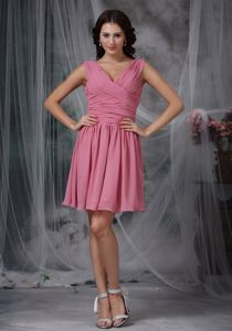 Roes Pink V-neck Mini-length Dama Dress with Ruches in Chiffon