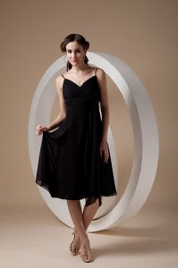 Black Chiffon Dama Dress with Ruches and Spaghetti Straps