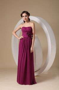 Violet Red Chiffon Dama Gown with Rushes and a Hand Made Flower