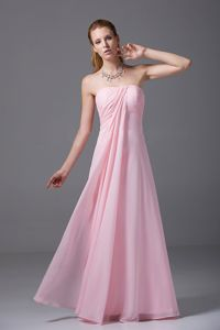 Strapless Light Pink Dama Dress with Ruches in Chiffon