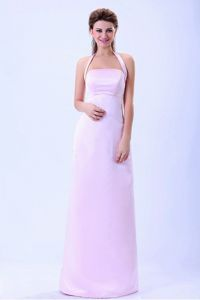 Baby Pink Halter Top Column Floor-length Dama Dress in Satin