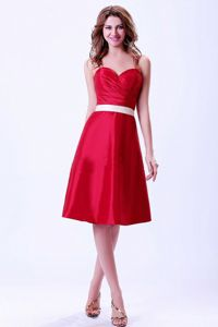 Sweetheart Wine Red Dama Dress With a White Belt in Taffeta