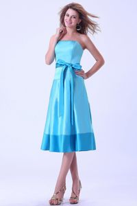 Satin Aqua Blue Dama Dress With a Bow Sash in Tea-length
