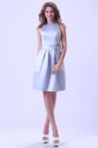 Bateau Knee-length Silver Dama Dress With a Hand Made Flower