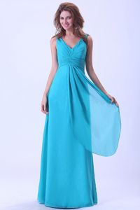 V-neck Aqua Blue Floor-length Dama Gown With Pleat in Chiffon