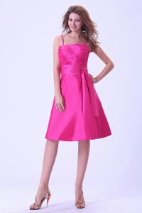 Hot Pink Knee-length Quinceanera Dama Dress With a Sash and Straps