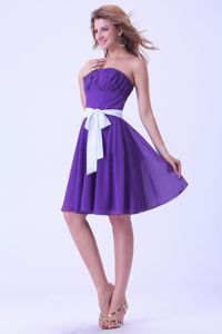 Purple Knee-length Dama Gown With a White Sash in Chiffon