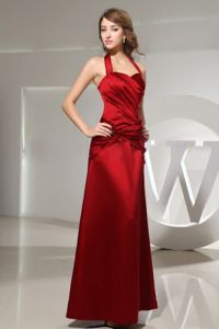 Halter Top Wine Red Ankle-length Dama Dress with Ruched in Satin