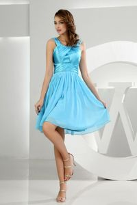 Baby Blue Knee-length Dama Gown in Chiffon and Taffeta with Straps