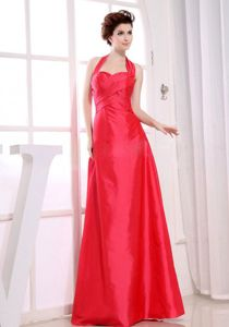 Red Halter Top Dama Dress with Asymmetric Pleat in Taffeta