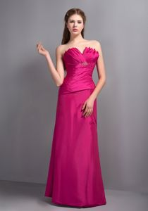 V-neck Hot Pink Dama Dress with Beading and Pleat in Taffeta