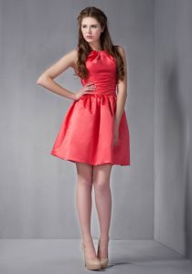Taffeta Rust Red Scoop Neck Dama Dress in Mini-length