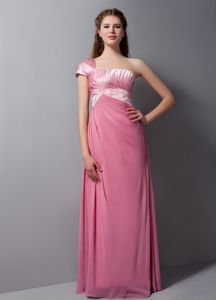One Shoulder Pink Dama Dress with Beading in Taffeta and Chiffon