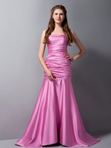 Mermaid Rose Pink Dama Dress with a Brush Train in Taffeta