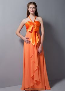 Orange Red Halter Top Dama Quinceanera Dress in Taffeta and Chiffon