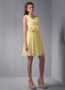 Empire Straps Mini-length Yellow Dama Dress with Hand Made Flower