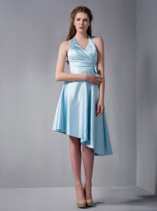 Discount Asymmetrical A-line Halter Baby Blue Ruched Dama Dress