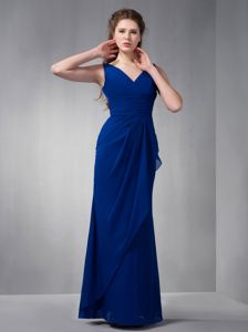 Amazing Royal Blue V-neck Chiffon Ruched Floor-length Dama Dress