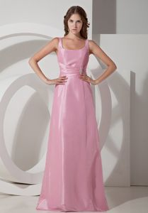 Square Rose Pink Empire Floor-length Beaded and Ruched Dama Dress
