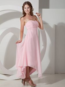 Empire Strapless Baby Pink Asymmetrical Chiffon Ruched Dama Dress