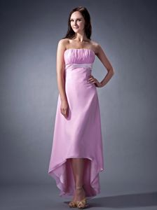 High-low Lavender Strapless Column Chiffon Dama Dress with Ruches