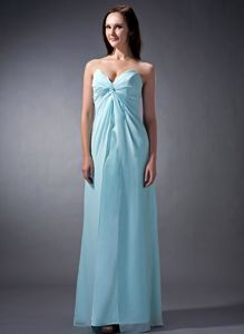 Sweetheart Baby Blue Column Chiffon Ruched Quinceanera Dama Dress