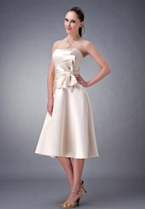 A-line Strapless Champagne Tea-length Satin Dama Dress with Sash