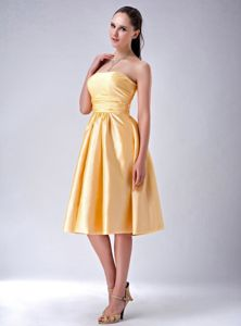 Amazing Gold Empire Strapless Bowknot Satin Dama Dress Tea-length