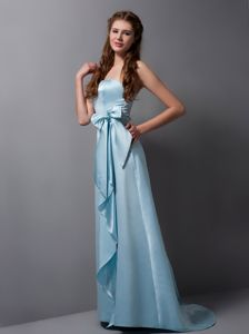 Baby Blue Column Strapless Brush Train Dama Dress with Bowknot
