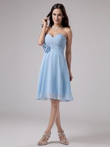 Sweetheart Light Blue Dama Dress with Handmade Flower and Ruches