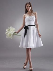 White Knee-length Chiffon Dama Dress with Ruches and Black Sash