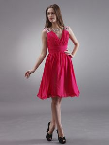 V-neck Red Dama Dress with Beading and Ruching Knee-length