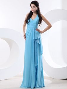 Baby Blue Halter Chiffon Dama Dress with Ruches and Ruffles