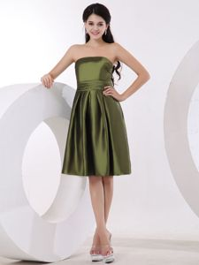 Simple Strapless Olive Green Quinceanera Dama Dress Knee-length