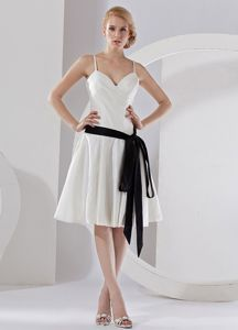 Spaghetti Straps Black Sash Knee-length 2013 White Dama Dress