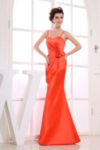Orange Red Spaghetti Straps A-line Dama Dress Hand Made Flower