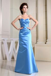 Sweetheart Colum Ruched Floor-length 2013 Dama Dress in Blue