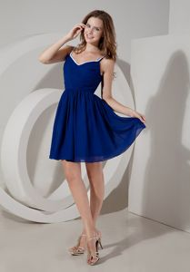 Spaghetti Straps Royal Blue A-line Mini-length Ruched Dama Dress