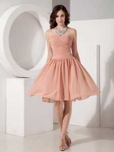 Peach Sweetheart Empire Chiffon Ruched Dama Dress Knee-length