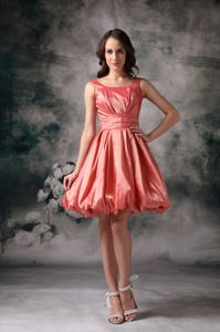 A-line Taffeta Straps Mini-length Dama Dress in Watermelon Red