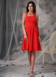 Red Empire Halter Knee-length Dama Dress Chiffon with Ruches