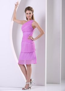 Lavender Beaded One Shoulder Chiffon Knee-length Dama Dress