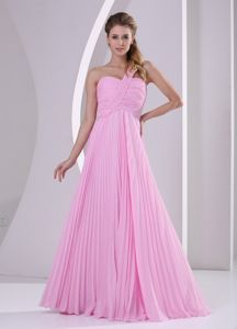 One Shoulder Pleated Pink Chiffon Empire Brush Train Dama Dress